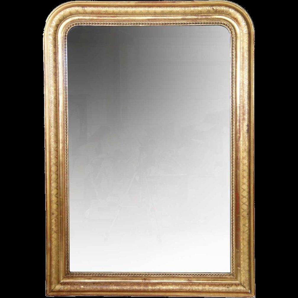 Large French Napoleon III Gilt Diamond Dust Mirror