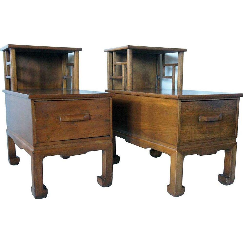 Vintage Pair of Japanese Teak Two-Tier Side Tables
