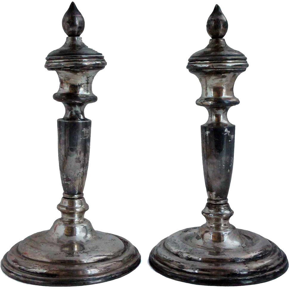 Pair of Japanese Sterling .950 Silver Candlesticks