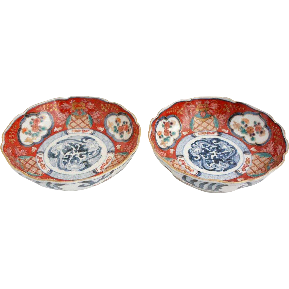 Pair of Japanese Imari Porcelain Bowls