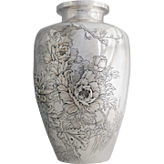 Large Japanese Meiji Hand Chased Silver Peony and Chrysanthemum Vase