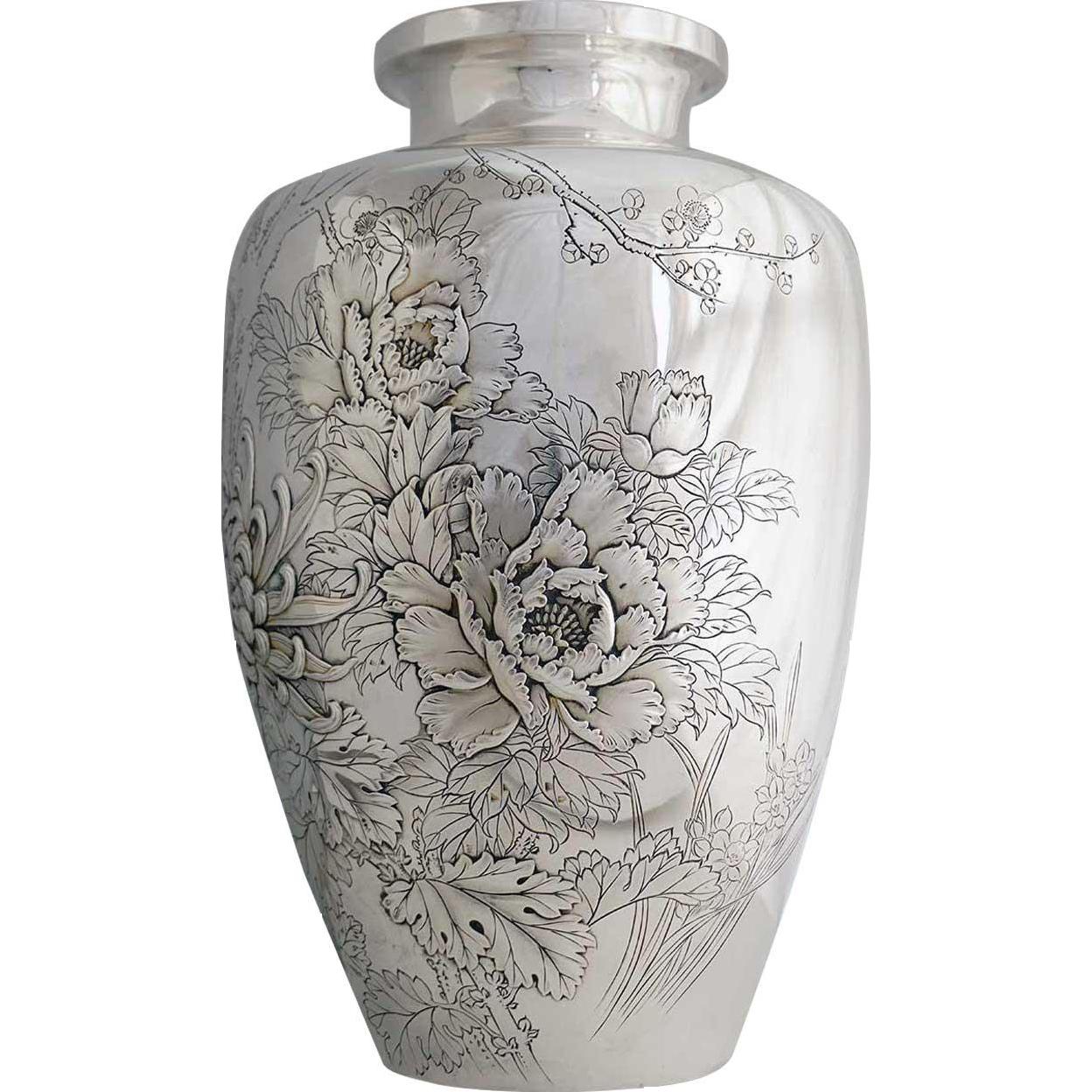 Large Japanese Meiji Hand Chased Silver Peony and Chrysanthemum Vase
