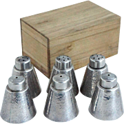 Three Pairs of Japanese Toyokoki Pure Silver Salt and Pepper Shakers with Kiri Wood Boxes