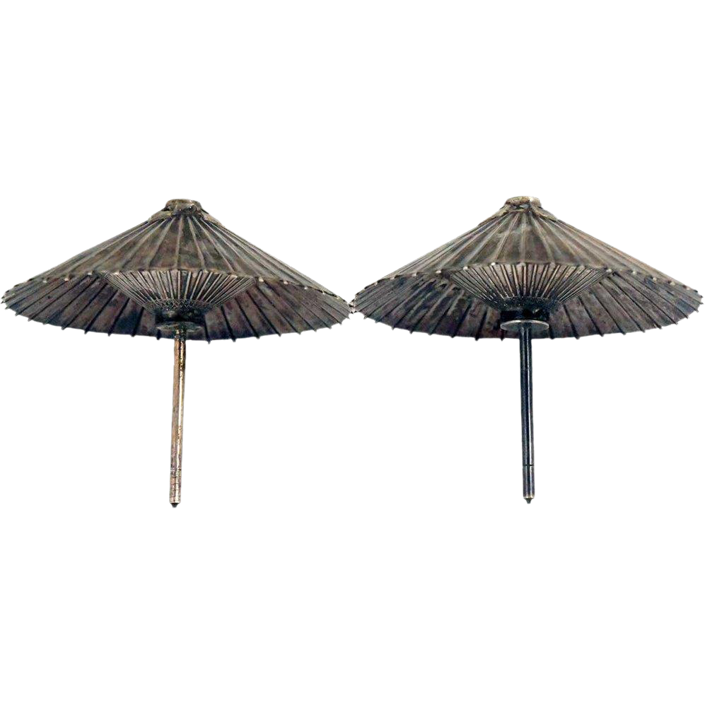 Pair of Vintage Japanese Sterling Silver Parasol Salt and Pepper Shakers