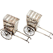 Pair of Vintage Japanese Sterling Silver Rickshaw Cart Salt and Pepper Shakers