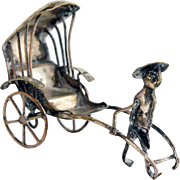 Vintage Japanese Silver Miniature Rickshaw Cart and Figure