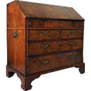 English Chippendale Walnut Veneer Drop Front Secretary Desk