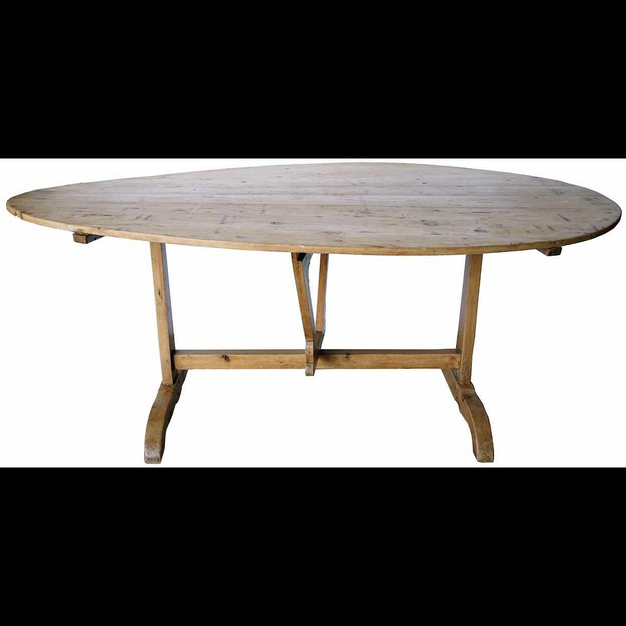 Large French Provincial Pine Trestle Tilt-Top Oval Wine Tasting (Vendage) Table