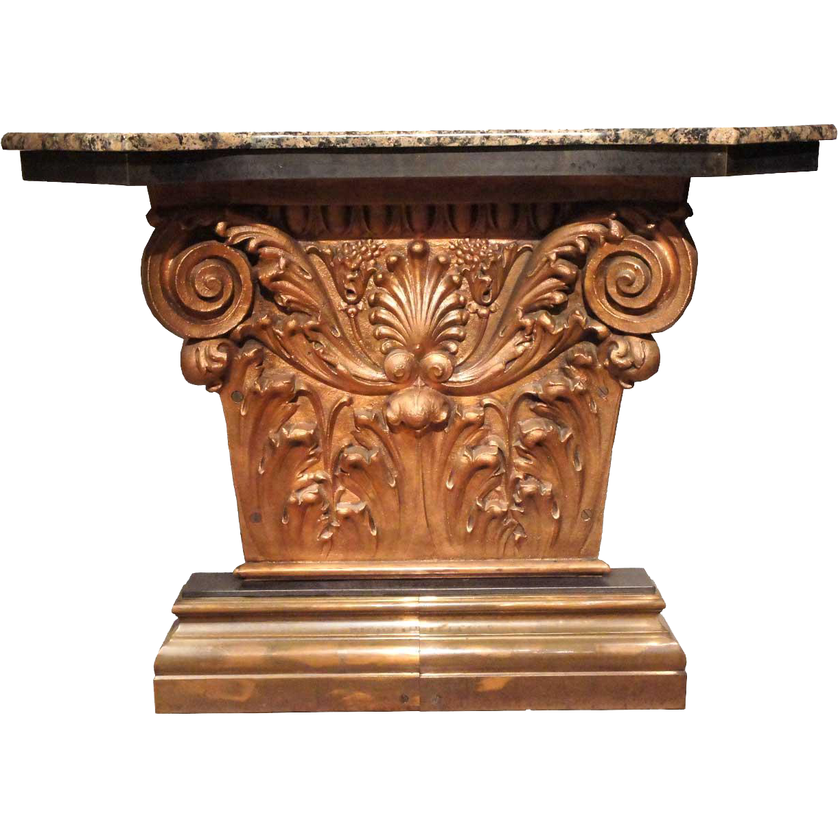 American Neoclassical Marble-Top Copper Clad Iron Console