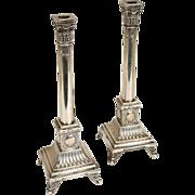 Pair of Polish Neoclassical Jan Chylinski .800 Silver Candlesticks