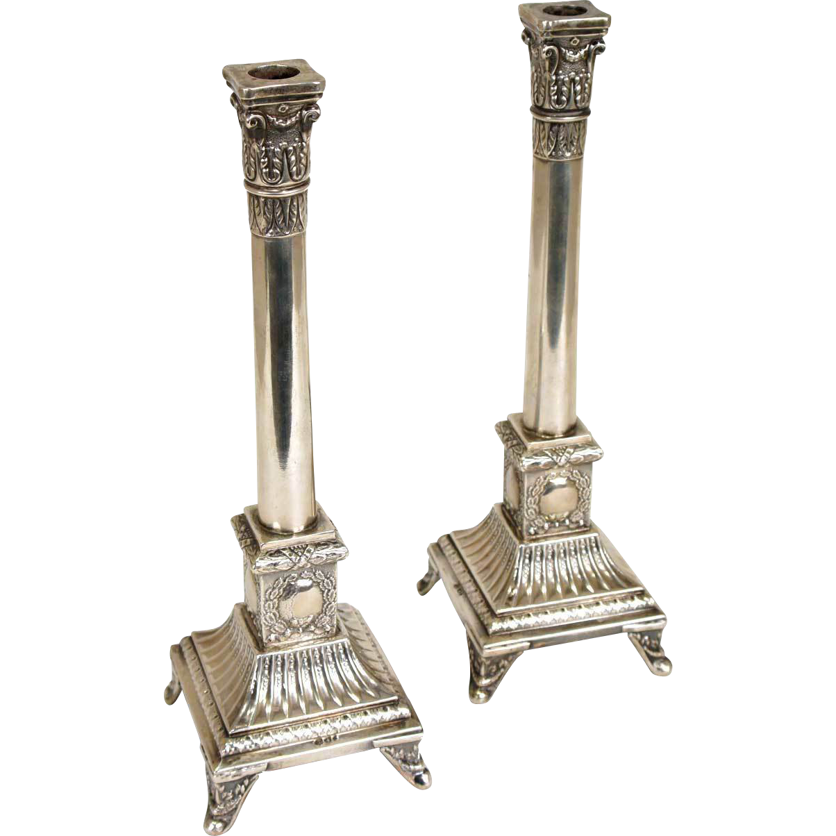 Pair of Polish Neoclassical Jan Chylinski .800 Silver Candlesticks