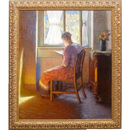 JULIUS REHDER Oil on Canvas Painting, A Sunlit Corner