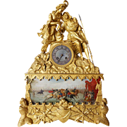 French Louis Philippe Fire Gilt Bronze Figural Mantel Clock