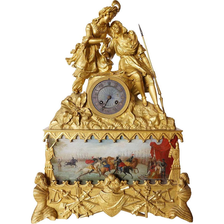 French Louis Philippe Fire Gilt Bronze Figural Mantel Clock