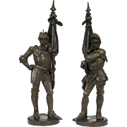 Pair of French Renaissance Revival Bronze Knight Models