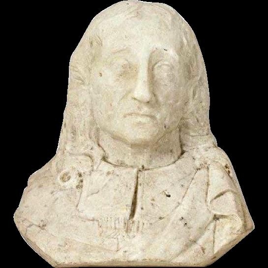 White Marble Bust of John Milton