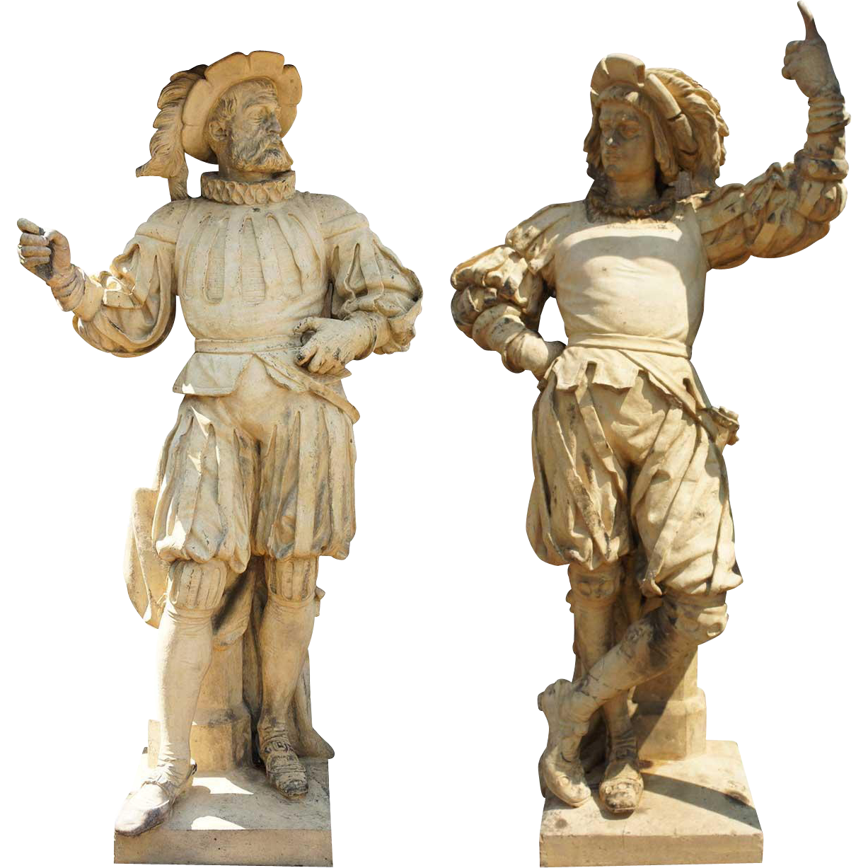 ALEXANDER CALENDRELLI, Pair of Glazed Stoneware Pottery Lansquenet Statues