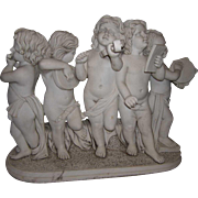 After FERDINANDO VICHI Marble Sculpture Group, Five Putti Musicians