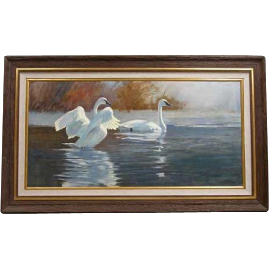 STEPHEN C. ELLIOT Oil on Canvas Painting, Swans on the Water