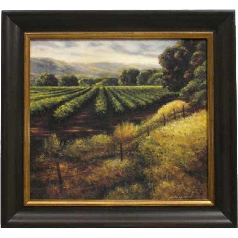 Signed Oil on Canvas Painting, California Vineyard Scene