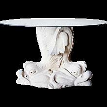 Antique Style Limestone Dolphin Garden Table Pedestal/Fountain Base