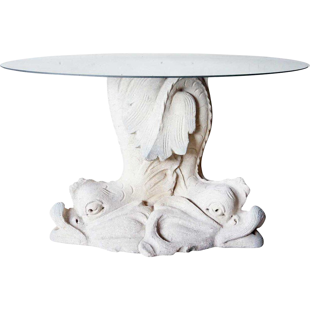 Antique Style Limestone Dolphin Garden Table Pedestal/Fountain Base