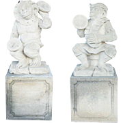 Pair of Vintage Limestone Monkey Musician Sculptures on Pedestals
