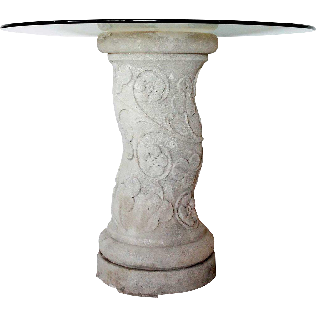 Vintage Limestone Spiral Twist Architectural Column Glass Top Side Table