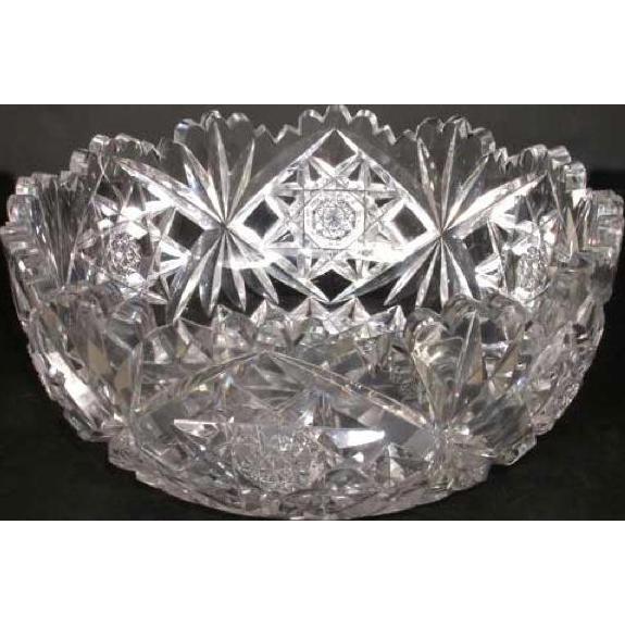 American Hawkes Victorian Brilliant Cut Glass Center Bowl