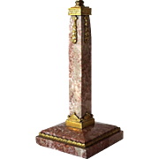 Small Austrian Ormolu Bronze Mounted Pink Marble Table Lamp