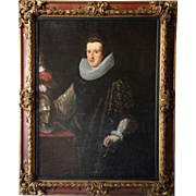 Spanish School Oil on Canvas Painting, Portrait of Nobleman