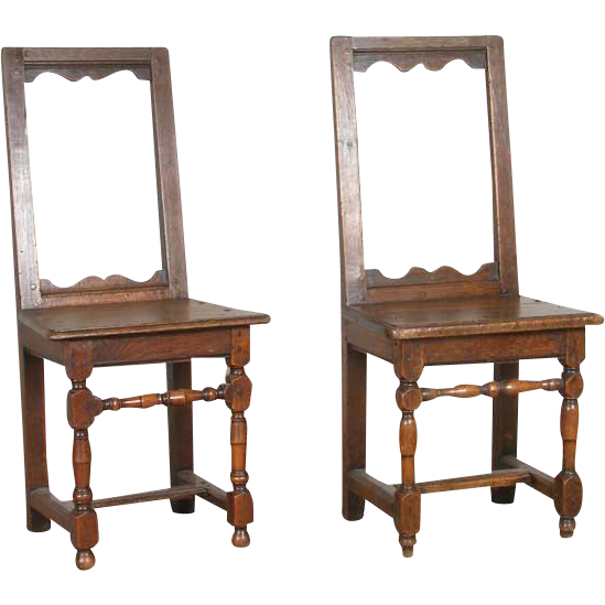 Small Pair of French Louis XIII Oak Side Chairs