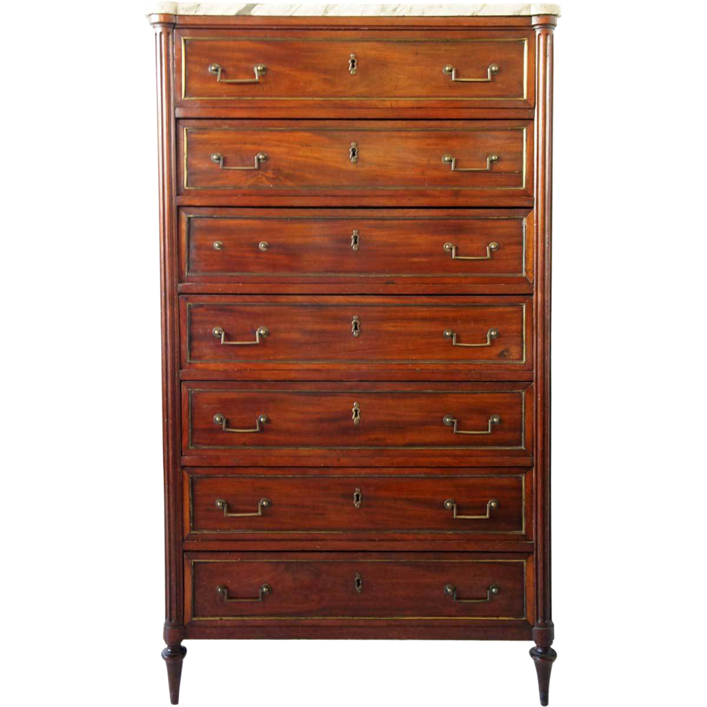 French Louis XVI Marble Top Mahogany Semainier Chest of Drawers