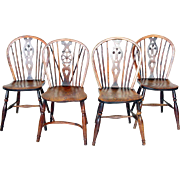 Assembled Set of 4 English Yew Windsor Side Chairs