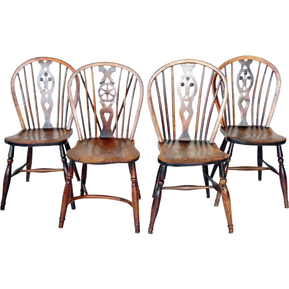 Assembled Set Of 4 English Yew Windsor Side Chairs From