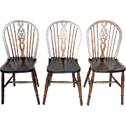 Set of 3 English Elm Windsor Side Chairs