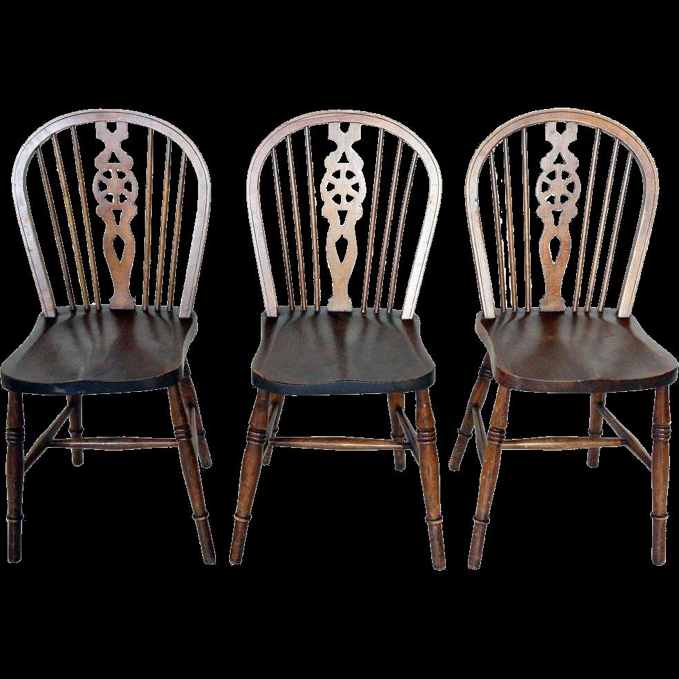 Set of 3 English Elm Windsor Side Chairs