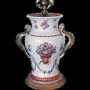 Chinese Export Parcel Gilt Porcelain Baluster Table Lamp