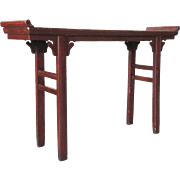 Chinese Red Lacquered Pine Altar Console Table