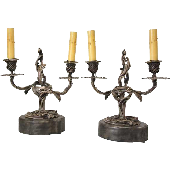 Pair of Louis XV Style Silver-Plated Two-Light Candelabra