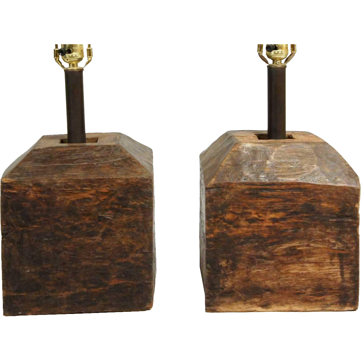 Pair of Indian Teak Pillar Bases as Table Lamps