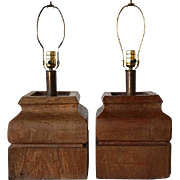 Large Pair of Anglo Indian Teak Pillar Bases as Table Lamps
