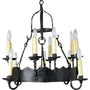 Gothic Revival Hand Forged Iron 12-Light Chandelier