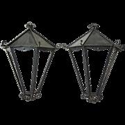 Pair of Large Art Deco Wrought Iron Wall Lanterns