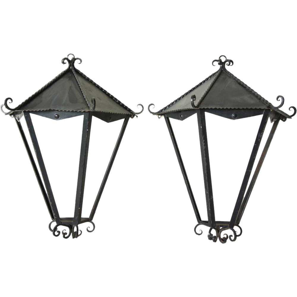 Pair of Large Art Deco Wrought Iron Wall Lanterns
