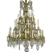 Large French Napoleon III Fire Gilt Bronze Chandelier