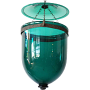 Anglo Indian Regency Style Green Glass Hall Lantern (Hundi)
