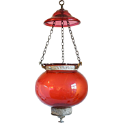 Small Anglo Indian Cranberry Glass Hall Lantern (Hundi)