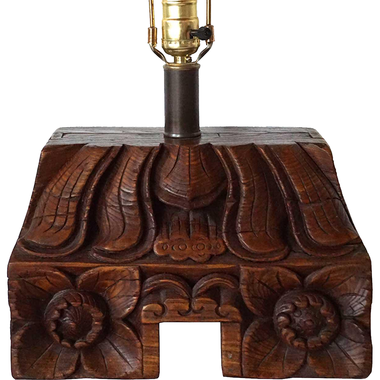 Chinese Elm Pilaster Capital as a Table Lamp