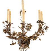 French Brass Six-Light Floral Wall Sconce